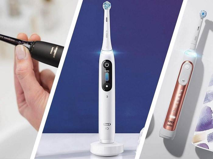Trying out an electric toothbrush
